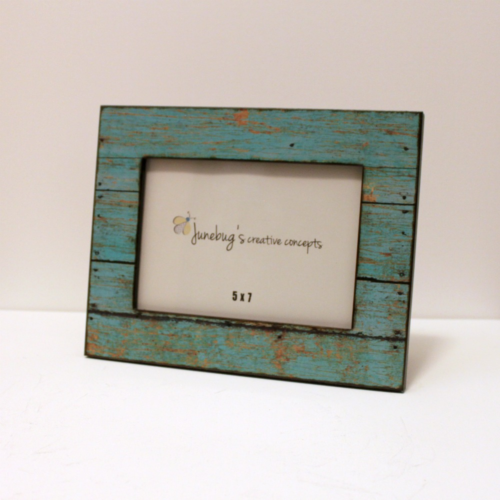 5x7 Wood Photo Frame Weathered Rustic Turquoise on Luulla